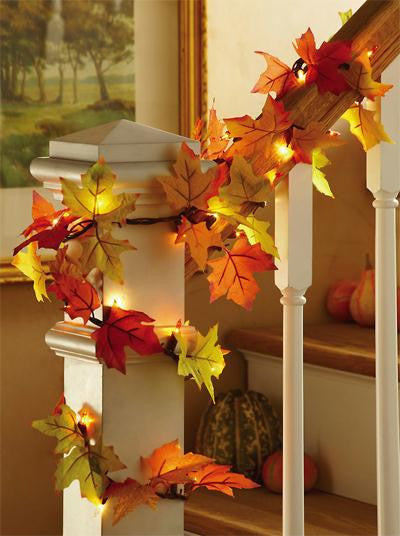 Fall Leaves Lighted Garland