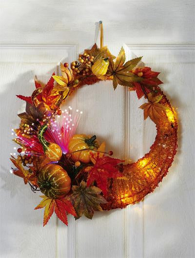 Lighted Cornucopia Wreath