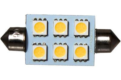 6 LED 12V Warm White 42mm Festoon Bulb (120 )