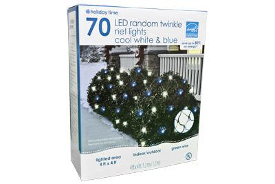 70 LED Twinkling Net Light Set - Cool White and Blue w- Green Wire