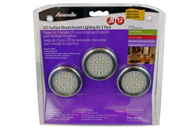 "12 Bulb Warm White LED Puck Light Kit 2.25"" (3 Pack)"