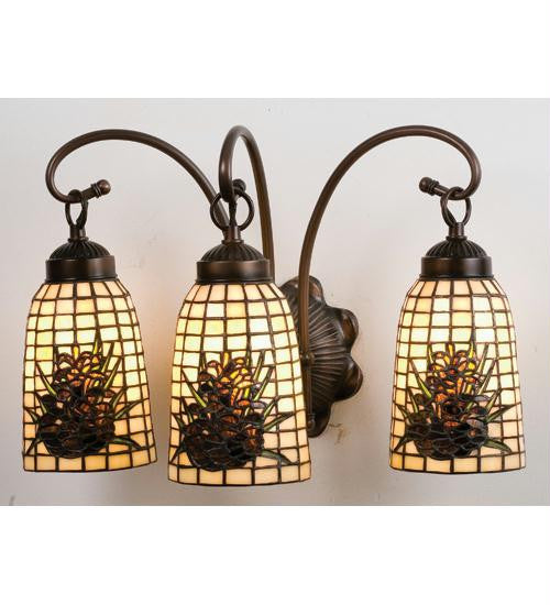 18 Inch W Pinecone 3 Lt Vanity Wall Sconces
