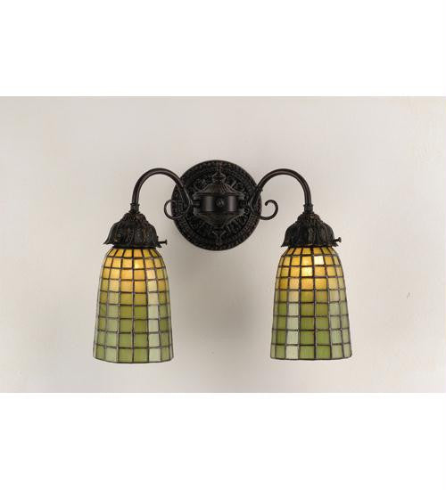 14.5 Inch W Geometric Green 2 Lt Wall Sconce Wall Sconces