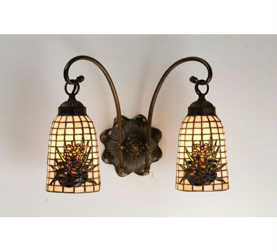 14.5 Inch W Pinecone 2 Lt Wall Sconce Wall Sconces