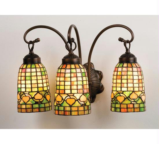 18 Inch W Autumn Tiffany Acorn 3 Lt Vanity Wall Sconces