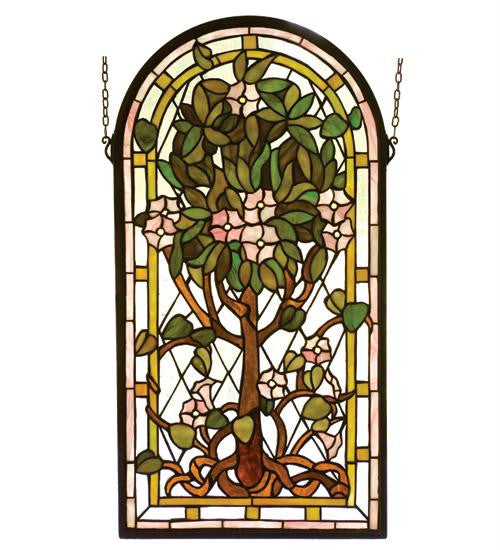 15 Inch W 29 Inch H Arched Tree Of Life Window Windows