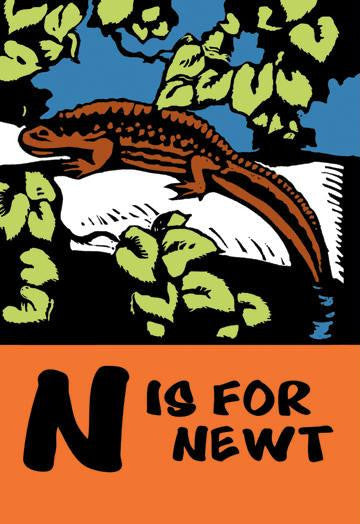 N is for Newt 20x30 poster