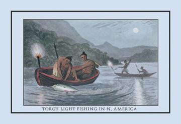 Torch Light Fishing In North America 20x30 poster