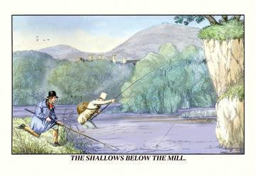 Fishing the Shallows Below the Mill 20x30 poster