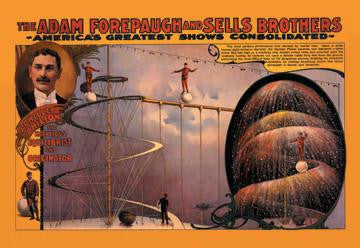 Achille Philion The Marvelous Equilibrist and Originator: The Adam Forepaugh and Sells Brothers Shows 20x30 po