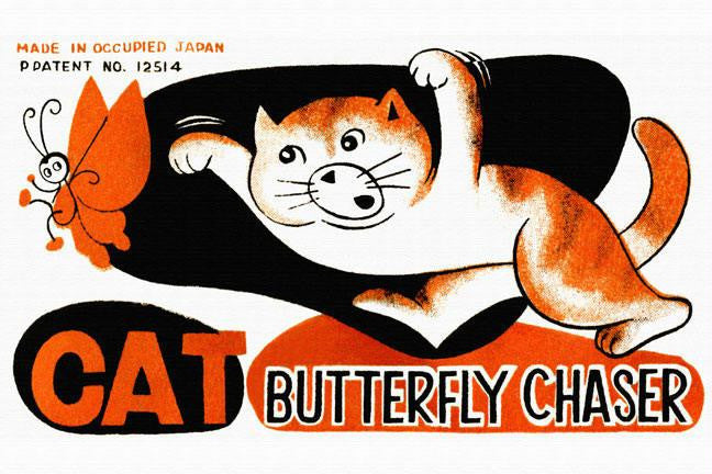 Cat Butterfly Chaser 24x36 Giclee