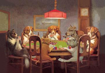Passing the Ace Under the Table (Dog Poker) 28x42 Giclee on Canvas