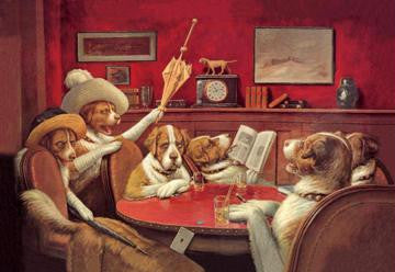 Dog Poker - This Game Is Over 28x42 Giclee on Canvas