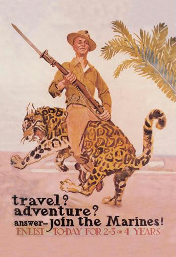 Travel? Adventure? Join the Marines 28x42 Giclee on Canvas