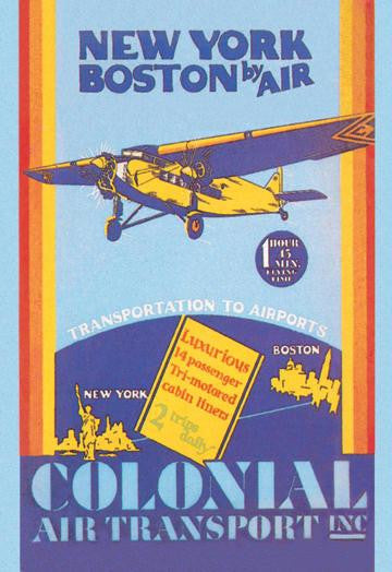 Colonial Air Transport - New York to Boston by Air 28x42 Giclee on Canvas