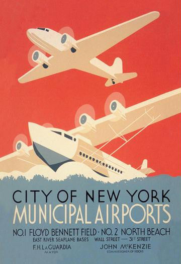 City of New York Municipal Airports (WPA) 28x42 Giclee on Canvas