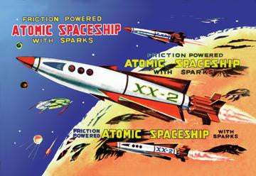 Friction Powered Atomic Spaceship with Sparks 12x18 Giclee on canvas