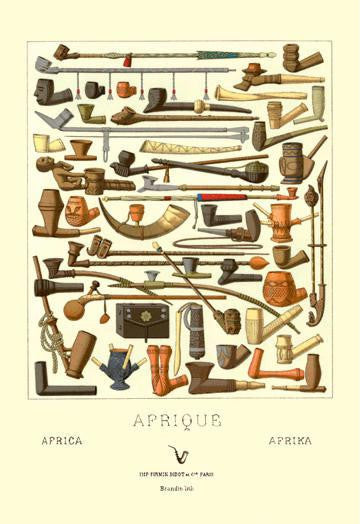 Afrique: Various Pipes 12x18 Giclee on canvas