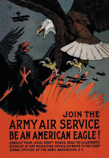 Join the Army Air Service: Be an American Eagle! 12x18 Giclee on canvas