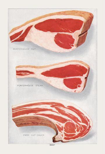 Beef: Porterhouse and Chuck 12x18 Giclee on canvas