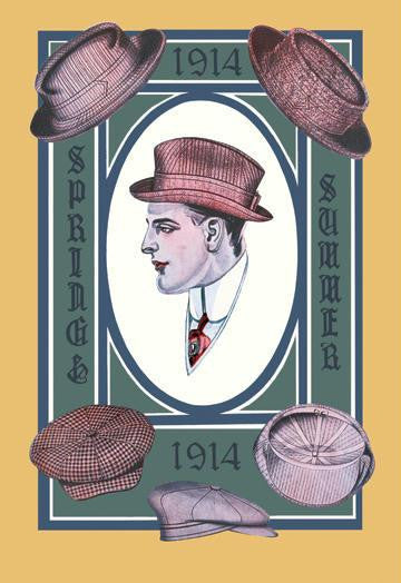 1914 Spring-Summer Hat Collection 12x18 Giclee on canvas