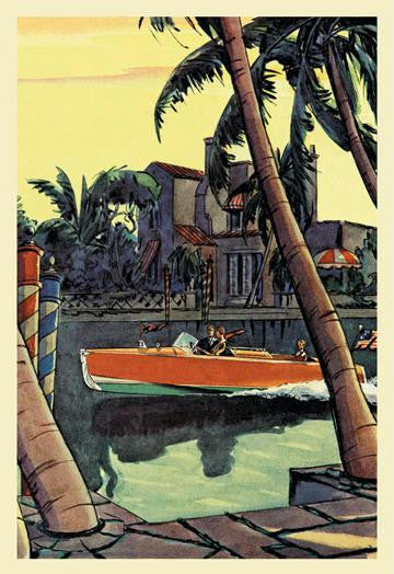 28 ft. Speedster (Dodge Boats) 12x18 Giclee on canvas