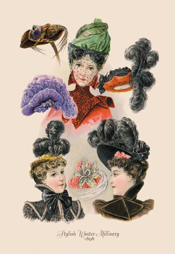 Stylish Winter Millinery 12x18 Giclee on canvas