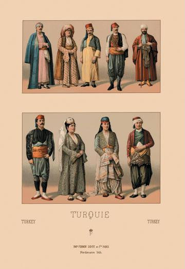 A Variety of Turkish Costumes #2 12x18 Giclee on canvas