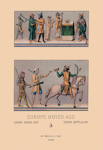 Traditional Dress of Medieval Europe 12x18 Giclee on canvas