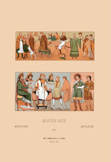 A Variety of Medieval Fashions 12x18 Giclee on canvas
