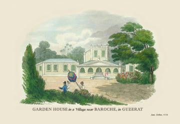 Garden House in a Village Near Baroche  in Guzerat 12x18 Giclee on canvas