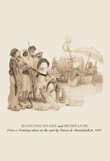 Dancing Snake and Musicians 12x18 Giclee on canvas