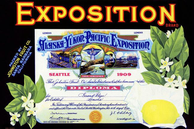 Alaska-Yukon-Pacific Exposition Lemons 12x18 Giclee on canvas