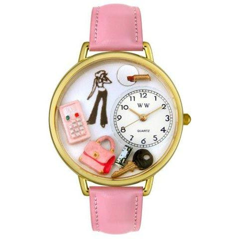 Whimsical Teen Girl Pink Leather Watch