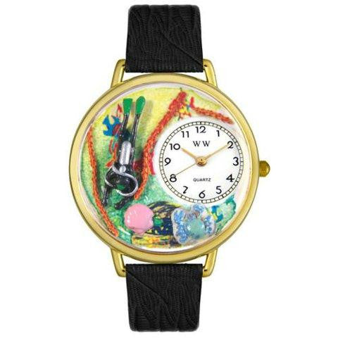 Whimsical Unisex Scuba Diving Black Skin Leather Watch