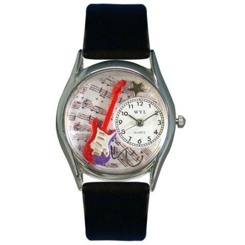 Whimsical Womens Electric Guitar Black Leather Watch