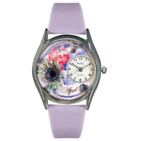 Whimsical Womens Birthstone: April Red Leather Watch