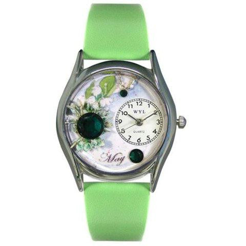 Whimsical Womens Birthstone: May Green Leather Watch