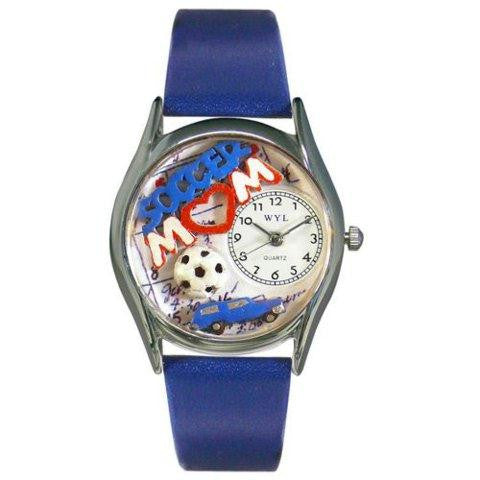 Whimsical Womens Soccer Mom Royal Blue Leather Watch