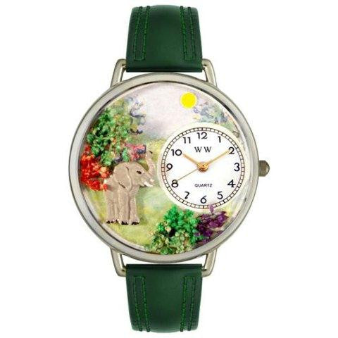 Whimsical Unisex Elephant Hunter Green Leather Watch