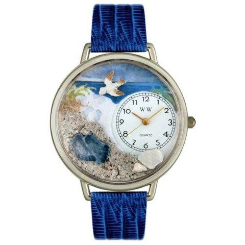 Whimsical Unisex Footprints Royal Blue Leather Watch