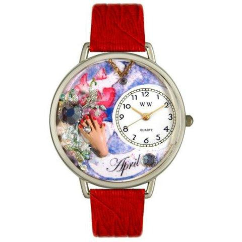 Whimsical Unisex Birthstone: April Red Leather Watch