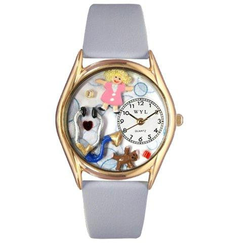 Whimsical Womens Pediatrician Royal Blue Leather Watch