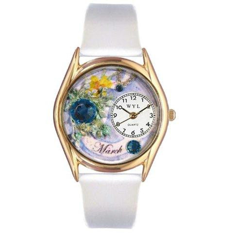 Whimsical Womens Birthstone: March White Leather Watch