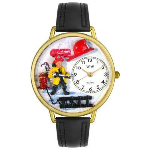Whimsical Unisex Firefighter Black Padded Leather Watch