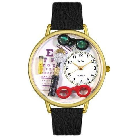 Whimsical Unisex Opthamologist Black Skin Leather Watch