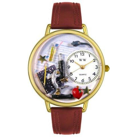 Whimsical Unisex Science Teacher Burgundy Leather Watch