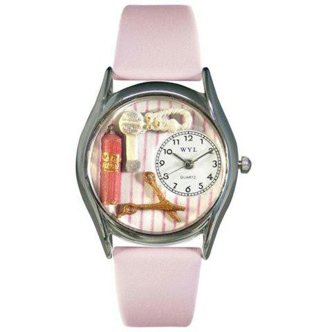 Whimsical Womens Beautician Female Pink Leather Watch