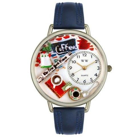 Whimsical Unisex Coffee Lover Navy Blue Leather Watch