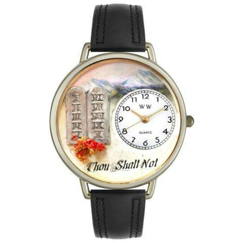 Whimsical Unisex Ten Commandments Black Leather Watch